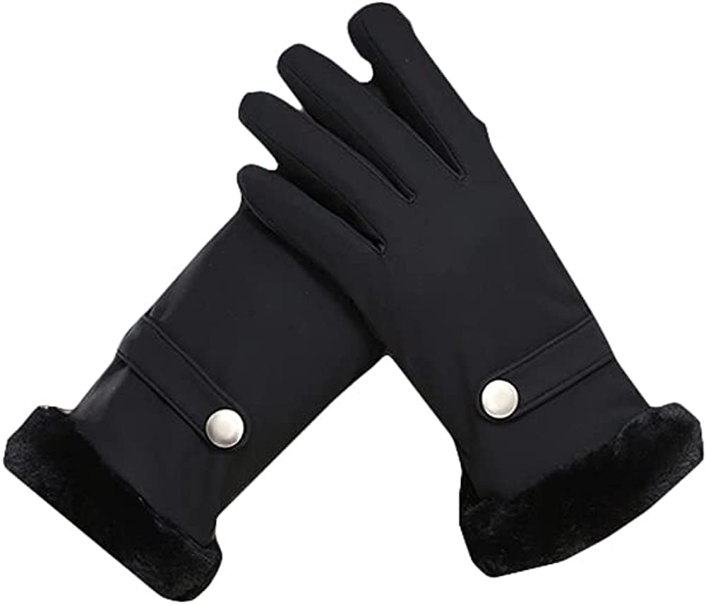 ATHX Women's Winter PU Touchscreen thickened Warm Driving Gloves with Plush Lined Cuffs