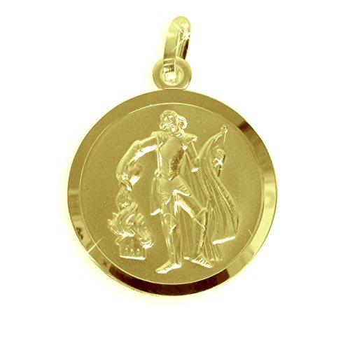Echt Gold/Silber Heiliger Florian Medaille Patron der Feuerwehr 18mm (213133) Gratis Express Gravur