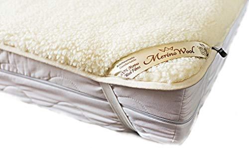 Merino Wool Ropa de cama, ropa de cama natural WOOLMARK colchón Topper hoja de forro polar producto natural, manta de lana doble tamaño (140 x 190 cm)