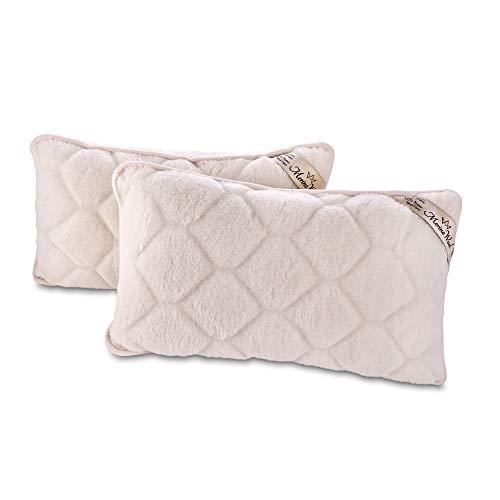 Due Cuscini Merino Wool Cachemire 45 x 75 cm con controllo della temperatura + Federa realizzata in pura lana MERINOS dotata di pratica cerniera per un comodo uso e lavaggio , Cuscino in lana naturale