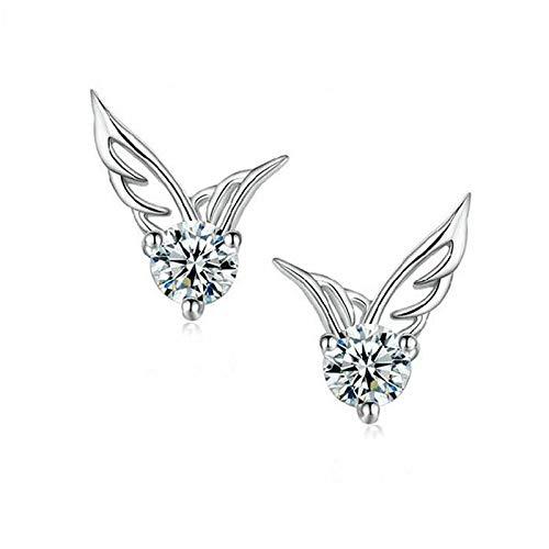 YANGYUAN Las alas del ángel del patrón Pendientes Señora Tremella Joyas Pendientes de Cristal Genuino, 1 par