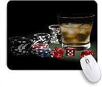 マウスパッド カジノカラフルポーカーチップジェットンレッドサイコログラスのアイス ゲーミング オフィス おしゃれ がい りめゴム ゲーミングなど ノートブックコンピュータマウスマット