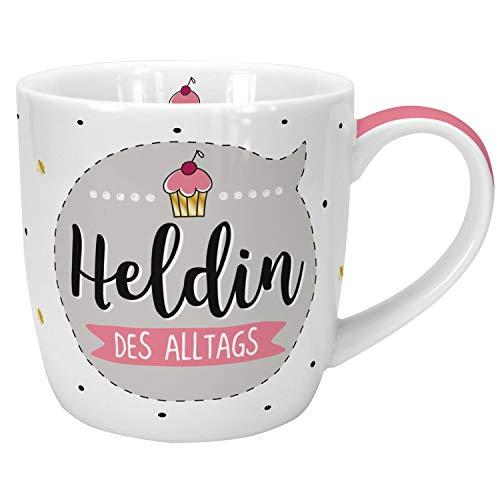 Die Geschenkewelt 45632 Kaffee-Tasse Heldin des Alltags, Porzellan, 40 cl, mit Geschenk-Banderole, Geschenk Mama