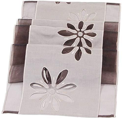 SIDCO Tischläufer Blüte braun Tischdecke Tischtuch Tischband Organza Läufer 40 x 160cm