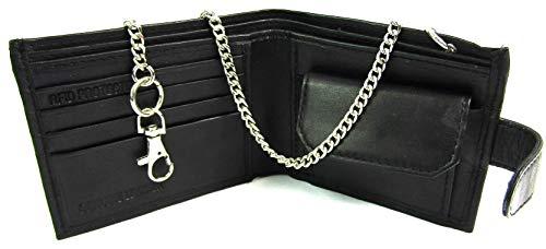 The Leather Emporium - Portefeuille Hommes Cuir Noir Haute Qualité Lux Chaîne 172