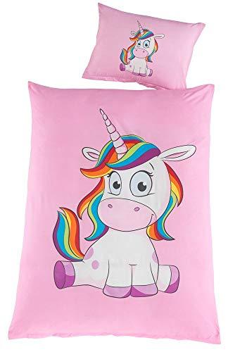 Kuschelige Einhorn Baby Kinder Bettwäsche 100x135 Set Mädchen Kinderbettwäsche Unicorn Pferde Pony Kissenbezug 40x60 rosa pink, Modell:Design 1