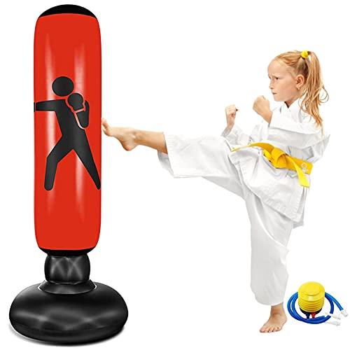 EQARD Saco de Boxeo Hinchable de Niños 62' Bolsa de Boxeo Independiente para Rebote Inmediato Sacos de Boxeo para Practicar Kárate Taekwondo MMA (Rojo)