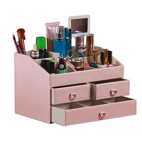 LYN Organisateur de Maquillage, Caisse cosmétique en Cuir, boîte de Finition de Stockage de Caisse cosmétique en Cuir de Coiffeuse avec Le Miroir (Cou