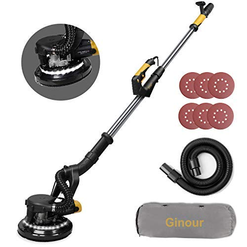 Drywall Sander, Ginour 6A Electric Drywall Sander with Automatic Vacuum System, 6 Variable Speed, LED Light, 6Pcs Sandpapers, 13ft Dust Hose, 15ft Power Cord, Extensible Handle (drywall sander)