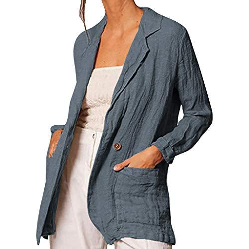 Frashing Leinenblazer Damen Leichte Cardigan Jacke Mantel Langarm Blazer mit Tasche Strickjacke Trench Coat Herbst Übergangsjacke Bluse Casual Top
