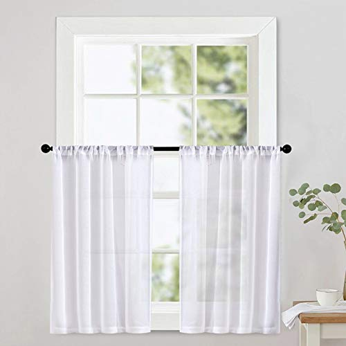 White Sheer Curtain Tiers 36 inch Length Kitchen Window Sheers Bathroom Short Transparent Voile Curtain Panels Rod Pocket Cafe Curtains Light Filtering 2 Panels