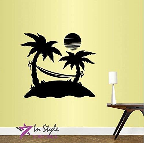 Lplpol muur Vinyl Decal Home Decor Art Sticker eiland palmbomen met hangmat zon vakantie kamer verwijderbare stijlvolle muurschildering uniek ontwerp