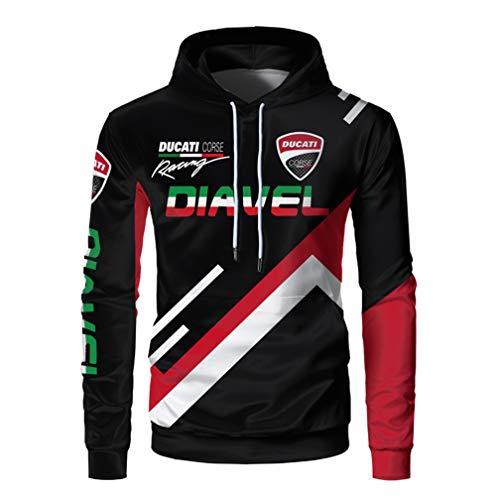 Cronell Story Unisex Langarm Hoodie 3D Digital International Ducati Logo Print Sweatshirt Lässiges Sweatshirt (1,M)