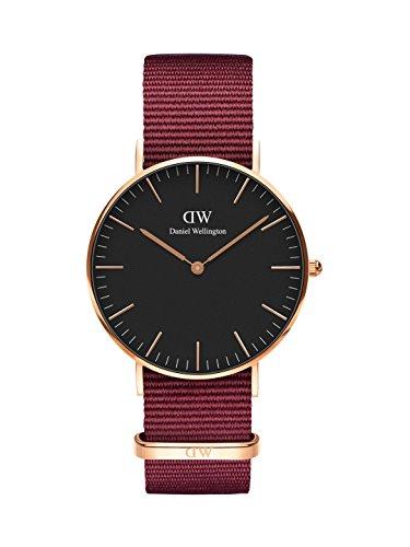 Daniel Wellington Unisex Erwachsene Analog Quarz Uhr mit Stoff Armband DW00100273