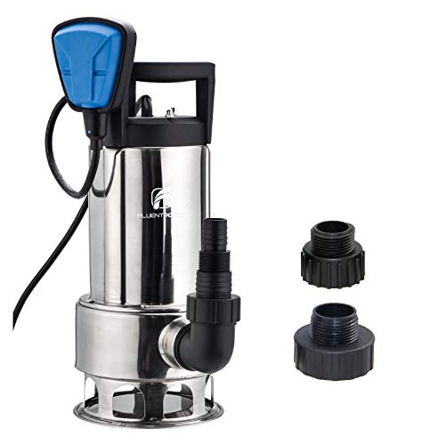 FLUENTPOWER Stainless Submersible Water Removal Pump, 1HP 4000 GPH for Clean and Dirty Water, with Voidable Float Switch Function, 3/4
