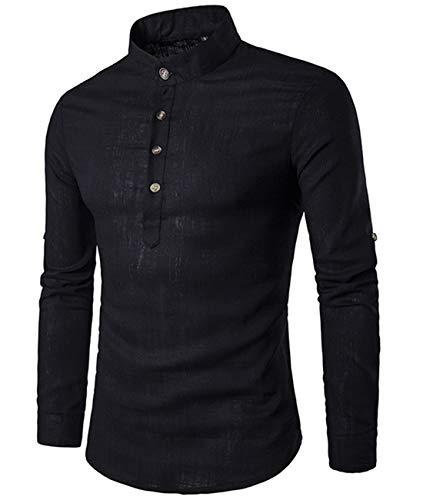 Cyiozlir Herren Leinenhemd leinen Langarmshirt Stehkragen Hemden mit Knopfleiste Slim fit Henley Shirt (Schwarz,Large)