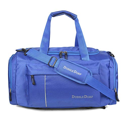 Dussle Dorf Polyester 40 Liters Navy Blue and Grey Travel Duffel Bag