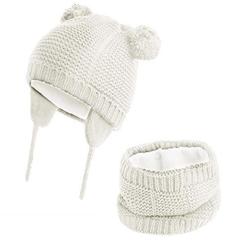 Hawiton Bambino cappello Lavorato Maglia Inverno bambino piccolo, calda fodera in lana Berretto, 1-4 anni