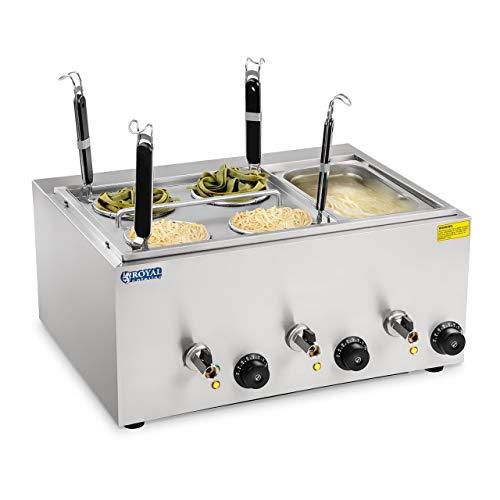 Royal Catering Cuiseur à pâtes 4 paniers Bac GN 1/3 RCNK-4-GN (3x1.000W, 50,7x60,5x50cm, capacité du récipient 4L, hauteur des paniers 14 cm)
