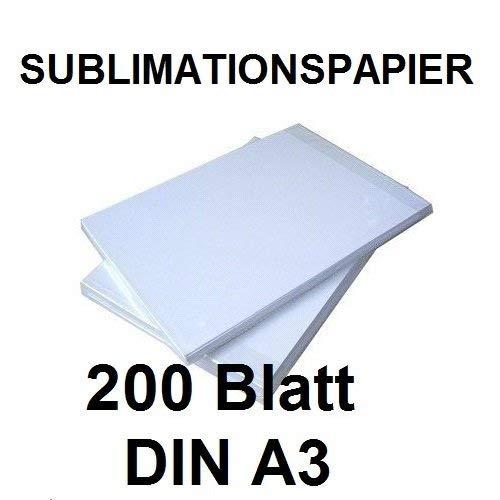 200 BLATT SUBLIMATIONSPAPIER/THERMO-TRANSFERPAPIER DIN A3 für Shirts, Caps, Tassen, Mousepads. Hervorragende Übertragungsqualität, Farbannahme und Farbsättigung, schnell trocknend, wischfest
