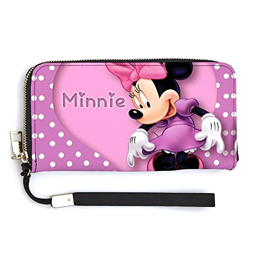 Minnie Cartoon Mouse cartera larga de gran capacidad, con cremallera, varios compartimentos unisex a la moda, exquisita cartera versátil