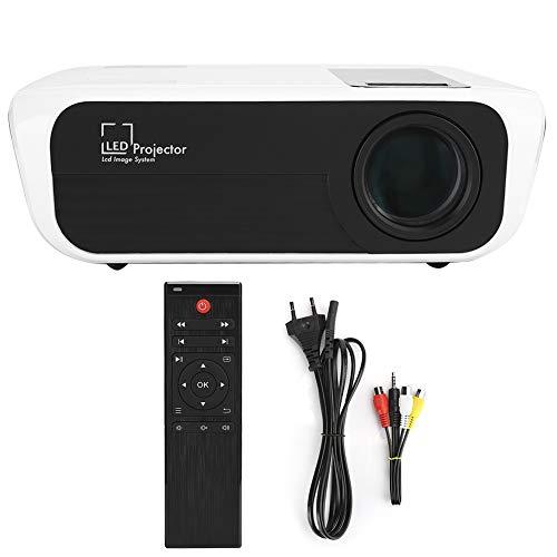Agatige Proyector de Video LCD, Proyector Full HD 1080P Altavoz Incorporado para PC de Cine en Casa, Computadora Portátil, PS4, DVD(Enchufe de la UE)