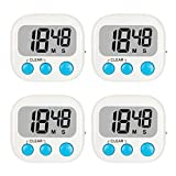 4 Pack Kitchen Timer, Magnetic Digital Timers, Loud Alarm Digital Timer for Cooking, Classroom, Countdown Count Up Timer for Teachers Kids with Backing Stand for Baking Sports Games Office, White