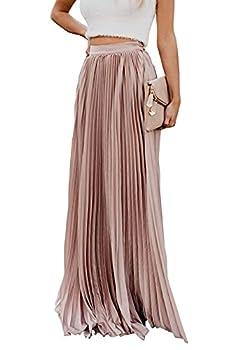 ebossy Women s High Waist Flowy Pleated Chiffon Maxi Skirt  X-Large Pink