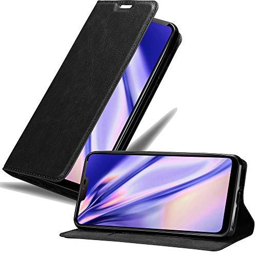 Cadorabo Hülle für LG G7 ThinQ in Nacht SCHWARZ - Handyhülle mit Magnetverschluss, Standfunktion & Kartenfach - Hülle Cover Schutzhülle Etui Tasche Book Klapp Style