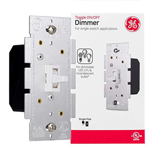 GE Single Pole Dimmer Toggle Switch, On/Off/Dim Settings, for Dimmable LED, CFL and Incandescent Bulbs, DIY Project, UL Listed, White, 18025