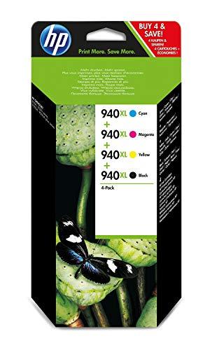 HP 940XL C2N93AE Confezione HP da 4 Cartucce Originali di Inchiostro, Compatibile con Stampanti Officejet Pro Serie 8000, Nero, Ciano, Giallo e Magenta