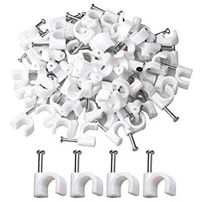 HSAN 200 Pcs Cable Staples,Cable Staples Clips Cable Clips with Steel Nail Wall Wire Nails Clamps Nail-In Cable Clips for Wire Management 7mm
