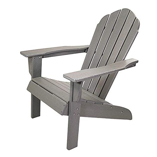 ResinTEAK HDPE Poly Lumber Adirondack Chair | Adult-Size, Weather Resistant for Patio Deck Garden, Backyard & Lawn Furniture | Easy Maintenance & Classic Adirondack Chair Design (Grey)