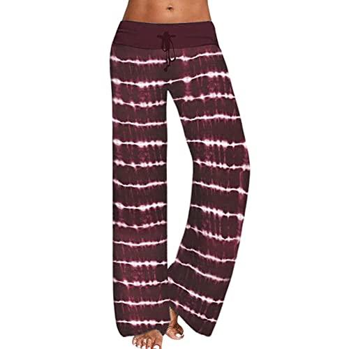 Pantalones Deportivos Anchos de Yoga con Estampado Tie-Dye Suelto para Mujer