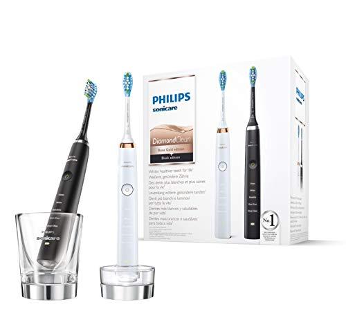 Philips Sonicare DiamondClean Duo Elektrische Tandenborstel HX9392/40 - Wittere, gezondere tanden - 5 Poetsstanden - Diepe reiniging stand - Met oplaadglas en 2 Reisetuis - Wit en Zwart