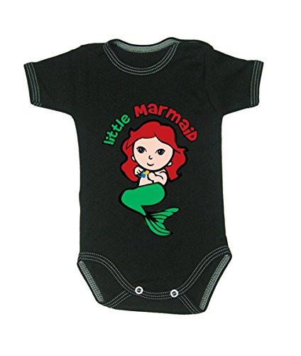 Couleur Mode bébé Marmaid bodies à manches courtes 100% coton Petit bébé – 24 mois – 0011 noir 3-6 months, 68 cm