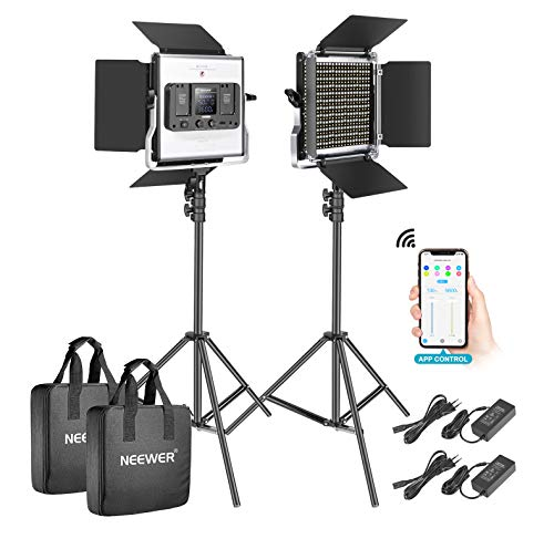 Neewer 2-Pack 528 LED Video Luz Metal Regulable Bi-Color 3200K-5600K Kit de Iluminación Fotografía con App Sistema Control Inteligente Pantalla LCD y Soporte Luz para Video Estudio