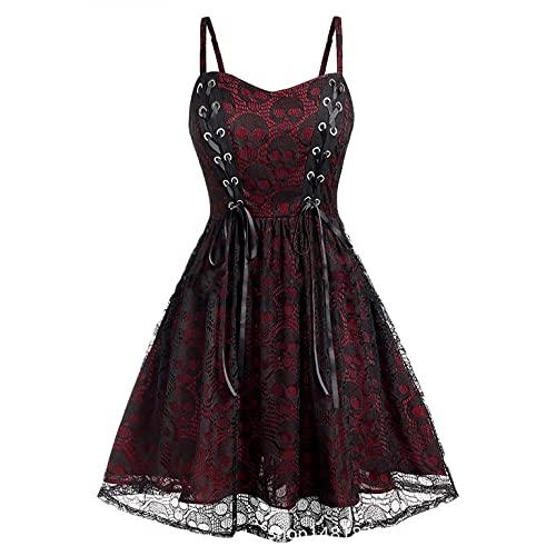 Masrin Swing Kleid für Damen Gothic Style Totenkopf Spitze Patchwork Skaterkleid Halloween Ärmelloses Sling A Linien Kleid Cocktailkleid mit...