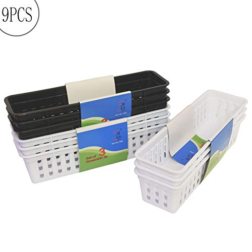 Slim Pencil Organizer Storage Container Color Pencil Marker Crayon Small Plastic Storage Basket Container Tray Box for Office Classroom Home(9 Pack)