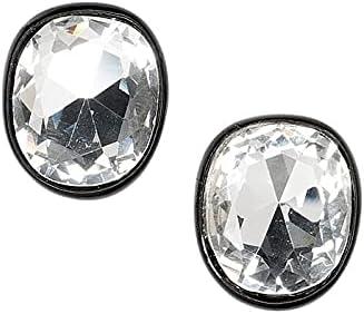 Kenneth Jay Lane's Jackie Kennedy Onassis Black Plated Crystal Clip Earrings