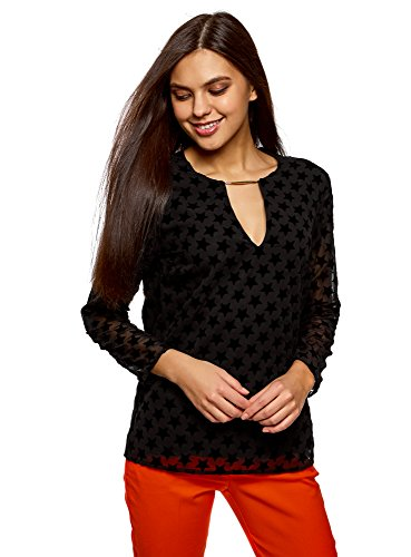 oodji Collection Mujer Blusa con Inusual Escote y Estampado Bordado, Negro, ES 40 / M