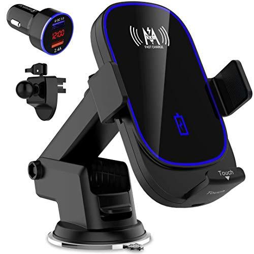 KKM Caricatore Wireless Auto, 15W Qi Auto-Bloccaggio Caricabatterie Ricarica Rapida Supporto per iPhone 12/12 Pro/12 PRO Max/11/11 Pro/11Pro Max/XS Max/8 Plus, Samsung S20/S10/Note 20 Ultra, etc