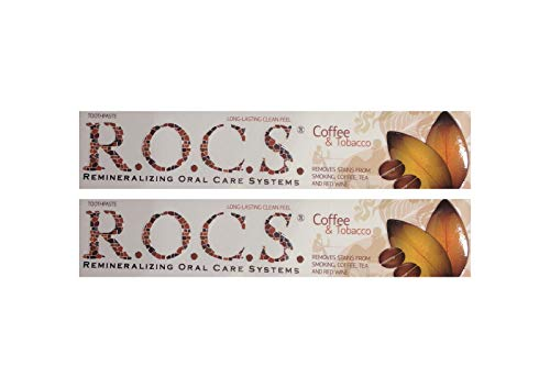 2x ROCS Kaffee und Tabak Whitening Zahncreme 74g Zahnpasta Zahnweiss r.o.c.s.