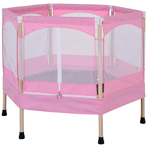 HOMCOM 50 inch Hexagon Kids Trampoline w/Safety Enclosure Net Bounce Spring Outdoor Rebounder Pink