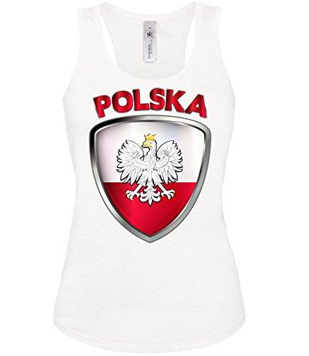 Polen Polska Poland Polski Polnische Koszulka Fussball Fußball Trikot Look Jersey Fanshirt Damen Frauen Mädchen Tank Top T-Shirt Tanktop Fan Fanartikel Outfit Bekleidung Oberteil Artikel