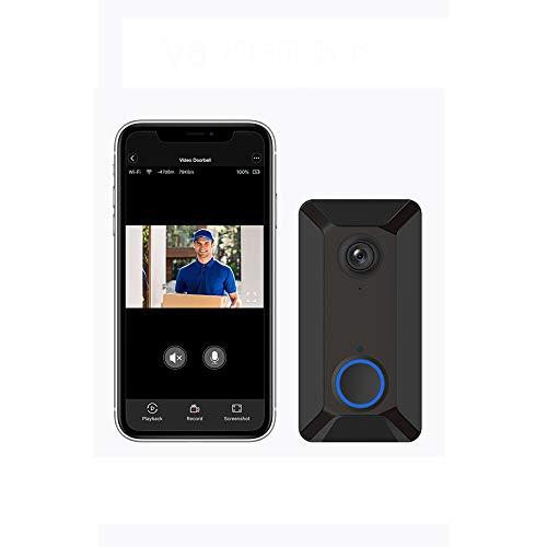 Prtukytt draadloze video-deurbel, 720p HD 166-graden groothoek (met infrarood en nachtzicht), PIR-bewegingsdetectie, wifi-aansluiting, geschikt voor interne veiligheid
