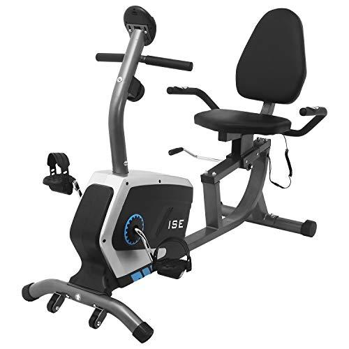 ISE Cyclette Orizzontale Magnetico con Sella Regolabile,Recumbent Ergometro Ideale per Allenamento di...