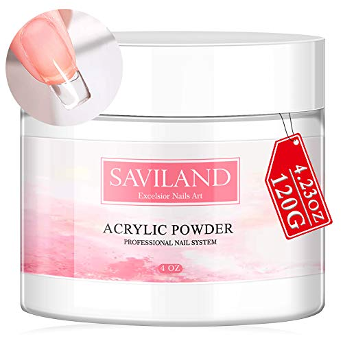 Saviland Clear Acrylic Powder 4.23oz - Professional Crystal Polymer Clear Nail Powder Acrylic Nail System for Acrylic Nails Extension No Need Nail Lamp