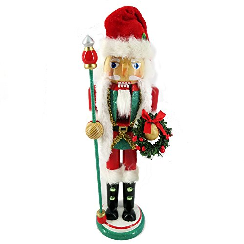 Christmas Holiday Wooden Nutcracker Figure Soldier Santa Kris Kringle Red and White Uniform Jacket with Faux Fur Details, Large, 12 inch