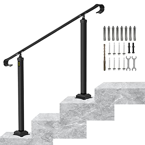 VEVOR Handrails for Outdoor Steps, Fit 2 or 3 Steps Outdoor Stair Railing, Wrought Iron Handrail, Flexible Front Porch Hand Rail, Black Transitional Hand railings for Concrete Steps or Wooden Stairs